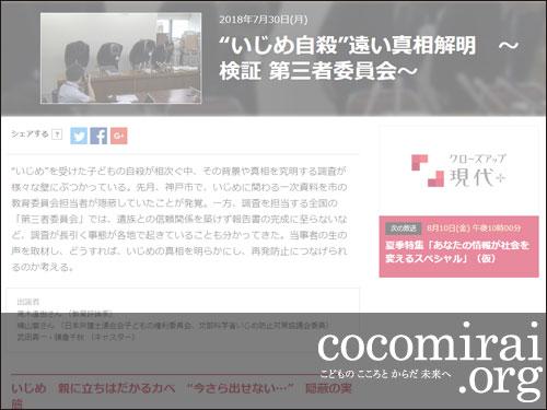 武田さち子:2018年7月30日 NHK「クローズアップ現代+」調査資料紹介